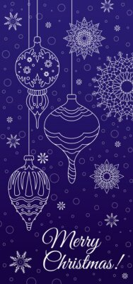 Merry Christmas! White snowflakes and Christmas tree toys on a blue background. The vertical format. Vector
