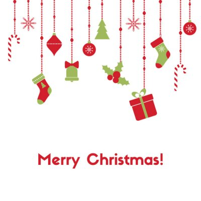 Merry Christmas. Greeting card with hanging garlands, christmas toys, gift box, candy canes, stockings