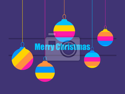 Merry Christmas. Multi colored Christmas ball. Greeting card with hanging striped balls. Vector illustration