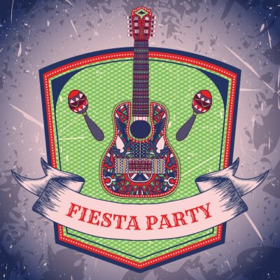 Canvas print Mexican Fiesta Party label with maracas and mexican guitar .Hand drawn vector illustration poster with grunge background. Flyer or greeting card template