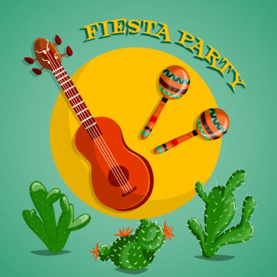 Canvas print Mexican Fiesta Party poster with maracas, mexican guitar and cactuses. Flyer or greeting card template. Vector illustration
