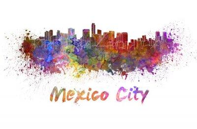 Canvas print Mexico City skyline in watercolor