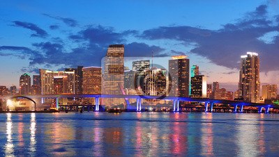 Canvas print Miami night scene
