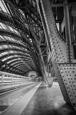 Canvas print Milan Central Station - binary
