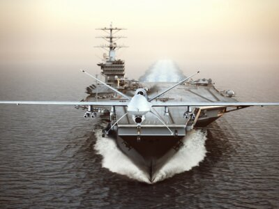 Canvas print Military Drone aircraft launching from an aircraft carrier on a strike mission. 3d rendering