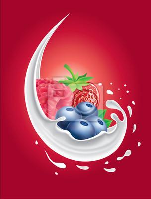 milk splash with forest fruit strawberry, raspberry, blueberry