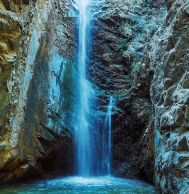 Canvas print Millomeris Waterfall in Rock Cave, Troodos mountains