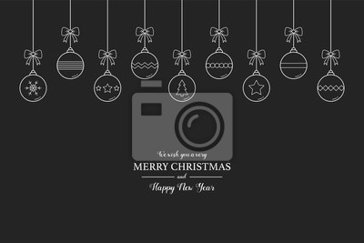 Minimalist Christmas greeting card with hanging balls and text. Xmas decoration. Vector