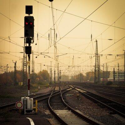 Canvas print Mobile photography tone confusing rail tracks dusk