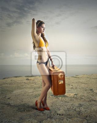 Model posing at the beach