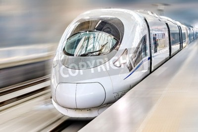 Canvas print Modern Hi-Speed  Passenger Train. Motion effect.