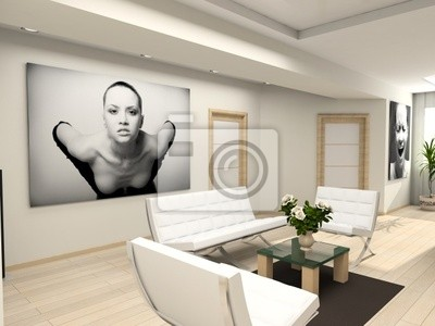 Modern interior with the fashionable picture.