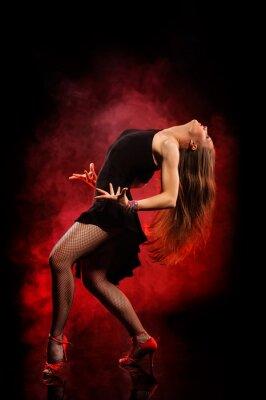 Canvas print modern style dancer posing on dark background