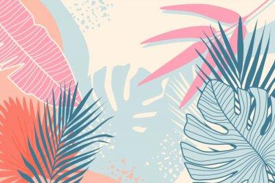 Canvas print Modern tropical background. Jungle plants nature backdrop. Summer palm leaves wallpaper.