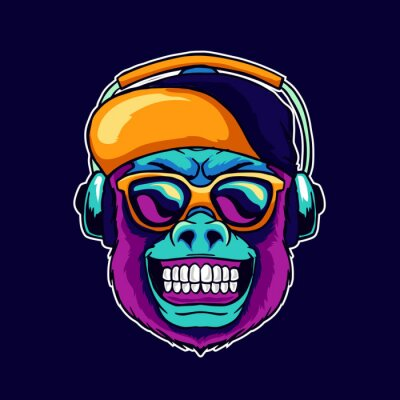 Canvas print Monkey smile wear cool glasses and cap hat listening dope music on the headphone speaker vector illustration. Pop art color style animal gorilla head logo design for creative DJ sound producer studio.