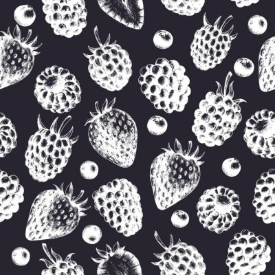 Monochrome berries seamless pattern. Vector background with fruits silhouettes. Strawberry, raspberry, blueberry and blackberry.