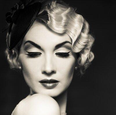 Canvas print Monochrome picture of elegant blond retro woman