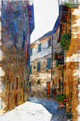 Canvas print Montefioralle, one of the most beautiful villages of Tuscany, Italy