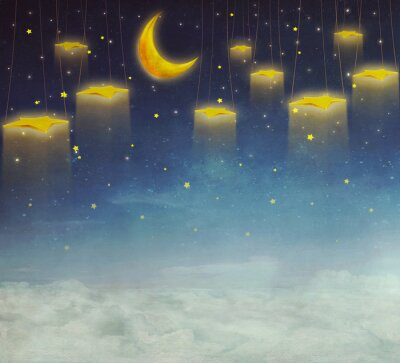 Canvas print Moon and stars on the rope  at night sky