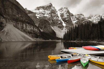 Canvas print Moraine Lake boat
