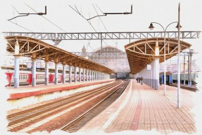 Canvas print Moscow city. Railway station platform. Imitation of a picture. Oil paint. Illustration