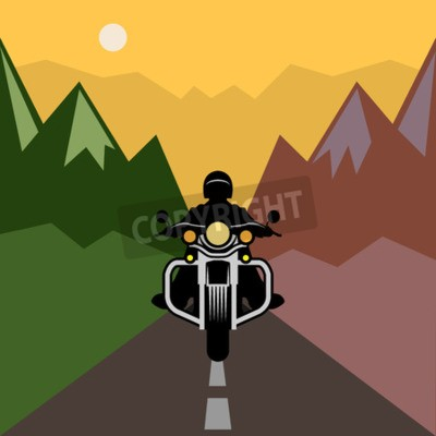 Canvas print Motorcycle adventure, vector illustration