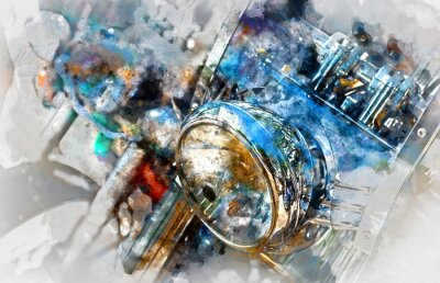 Canvas print Motorcycle headlight. Digital watercolor painting
