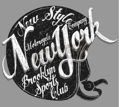 Canvas print Motorcycle Helmet Typography New York Sports Club