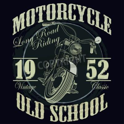 Canvas print Motorcycle Racing Typography Graphics. Old school bike. T-shirt Design, vector illustration