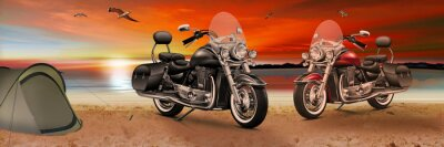 Canvas print Motorrad, Bike am Strand beim Sonnenuntergang am Abend
