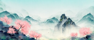 Canvas print Mountain forest with peach blossoms in spring and summer. Oriental ink landscape painting.