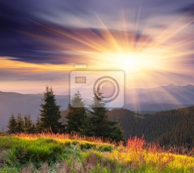 Mountain landscape with cloudy sky