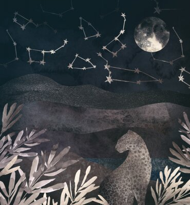 Canvas print .Mountain night landscape with leopard. .Collage of textured shiny metallic paper
