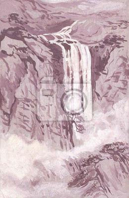 Canvas print Mountain waterfall. The landscape in the Chinese style of painting. Gouache
