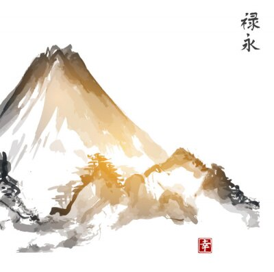 Canvas print Mountains, hand-drawn with ink