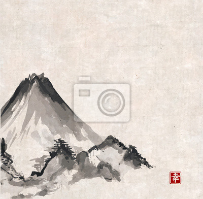 Mountains hand-drawn with ink in Japanese style