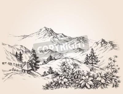 Canvas print Mountains landscape sketch