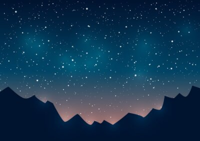 Canvas print Mountains silhouettes on starry background