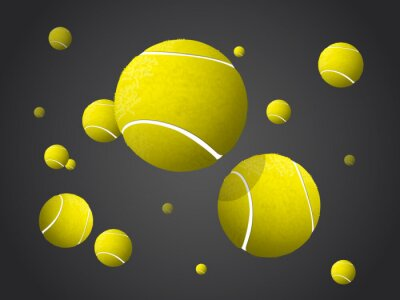 Canvas print Moving Tennis Balls flying, falling isolated on dark background.