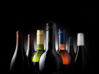 Canvas print multi bottles black - Stock Image