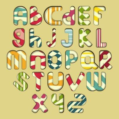Canvas print multicolored striped alphabet