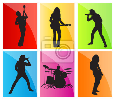 Music band set vector background