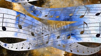Canvas print music note and Space and stars with abstrtact color background