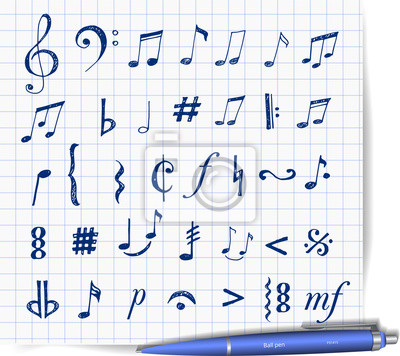 Canvas print Music notes and signs