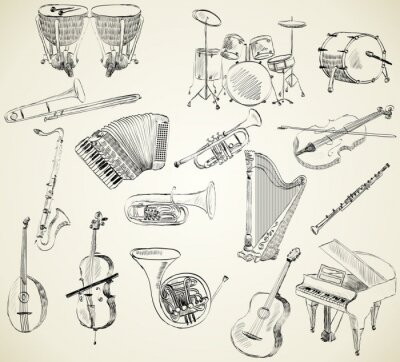 Canvas print musical instruments