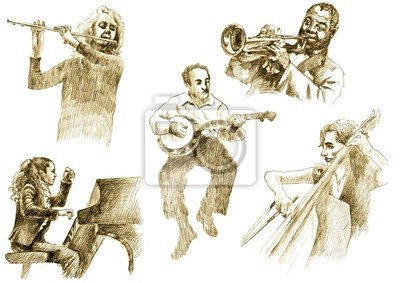 musicians with musical instruments,drawings converted to vector