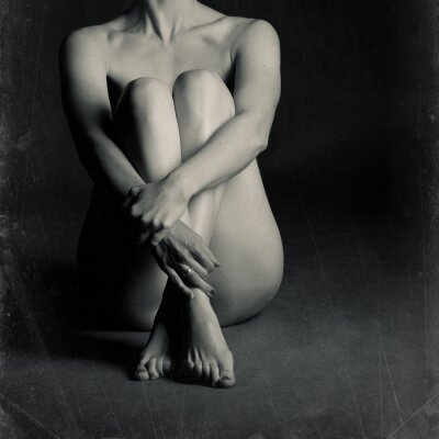 Canvas print Naked sitting woman
