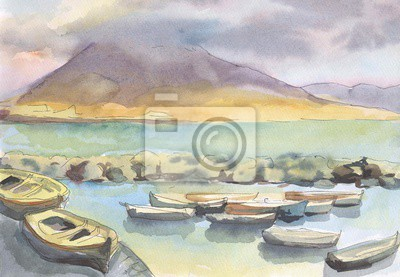 Canvas print Naples. View of the volcano Vesuvius. Boats on the shore of the sea. Painting. Watercolor