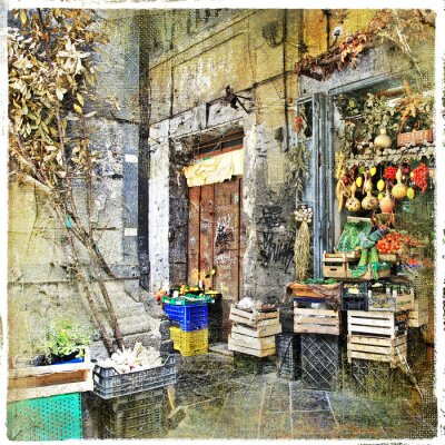 Canvas print Napoli,Italy - old streets with small shop, artistic picture