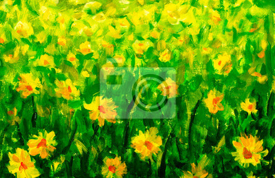 Natural spring landscape Background With yellow flowers blossom in Grass, Natural meadow rural outdoor oil painting summer flower Background Illustration artwork